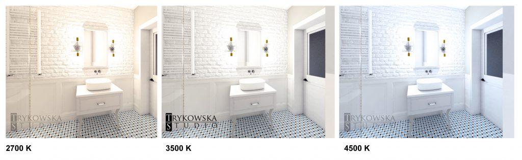 Dobór oświetlenia o różnej temperaturze barwowej na przykładzie takiej samej łazienki