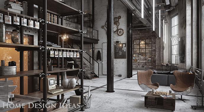 Efektowne wnętrze w stylu loft