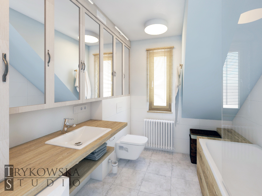 Łazienka ze skosem i oknem