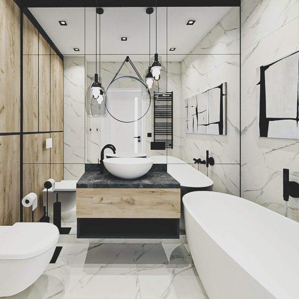 Mirror Pietrasanta - świetlista łazienka - projekt